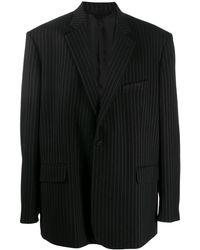 Balenciaga Однобортный Пиджак В Тонкую Полоску - Черный