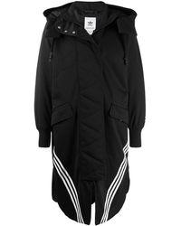adidas ロング パーカーコート - ブラック