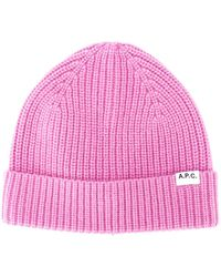A.P.C. Logo Patch Beanie - Pink