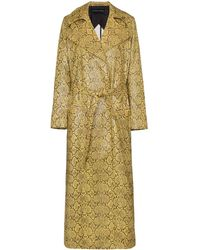 Michael Lo Sordo Snake Print Belted Trench Coat - Yellow