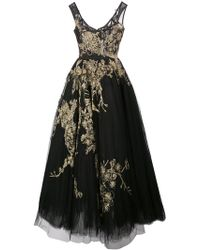 Marchesa - Metallic Embroidered Tulle Gown - Lyst