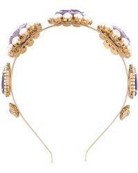 Dolce & Gabbana Floraler Haarreif mit Kristallen - Lila