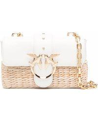 Pinko Love Raffia Panel Crossbody Bag - Natural
