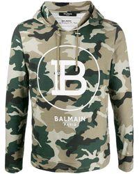 Balmain Felpa con stampa camouflage - Verde