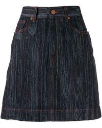 Vivienne Westwood Anglomania Wood Effect Denim Skirt - Blue