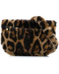 Yves Salomon Textured Leopard Print Belt Bag - Brown