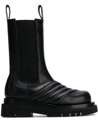 Bottega Veneta Quilted Mid-calf Chelsea Boots - Black