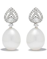 Kiki McDonough Pearls ダイヤモンド&パール ピアス 18kホワイトゴールド