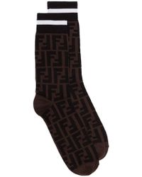 Fendi - Black And Brown Stretch Cotton Blend Logo Socks - Lyst