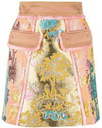 Peter Pilotto - Floral Jacquard Metallic Skirt - Lyst