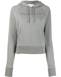 Helmut Lang Logo embroidered hoodie - Gris