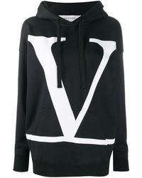 Valentino Vロゴ ドローストリング パーカー - ブラック