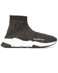 Balenciaga Speed High-top-sneakers Aus Metallic-stretch-strick Mit Logostickerei - Schwarz