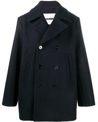 Jil Sander Wool Double Breasted Jacket - Blue