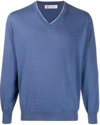 Brunello Cucinelli Pullover Met V-hals - Blauw