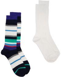 Anonymous Ism Stripe Pattern Socks - ブルー