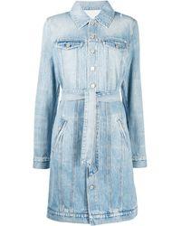Givenchy Vestito denim con cintura - Blu