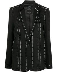 ROKH ステッチ テーラードジャケット - ブラック
