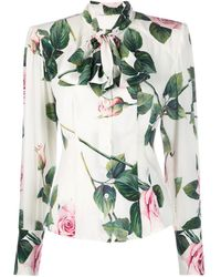 Dolce & Gabbana Floral Pussy Bow Blouse - White