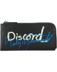 Yohji Yamamoto Slogan Zip Around Wallet - Black