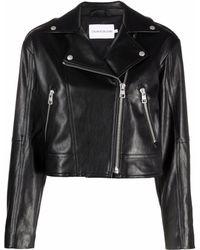 Calvin Klein クロップド ライダースジャケット - ブラック