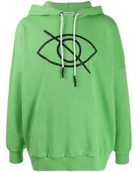Palm Angels Sensitive Content Logo Oversized Hoodie - Green