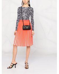 Calvin Klein バイカラー プリーツスカート - レッド