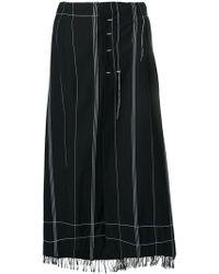 Masnada - Contrast-trim Flared Midi Skirt - Lyst