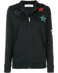 Valentino Star Embroidered Hoodie - Zwart