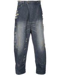 Julius - Asymmetric Zip Front Jeans - Lyst