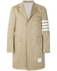 Thom Browne Unconstructed 4-bar Stripe Classic Chesterfield Overcoat - Naturel