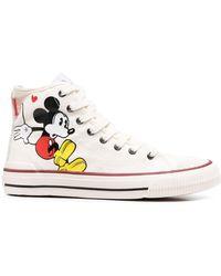 MOA Mickey Mouse ハイカットスニーカー - ホワイト