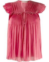 Ulla Johnson Short-sleeve Pleated Top - Pink