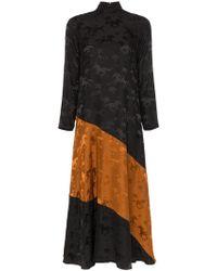 Ganni Платье С Принтом Лошадей - Черный