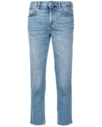 Mauro Grifoni Frayed Cropped Jeans - Blue