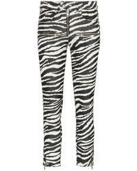 Étoile Isabel Marant Black And White Alone Zebra Print Cotton Trousers