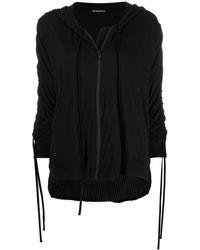 Ann Demeulemeester Zipped Tassel-detail Hoodie - Black