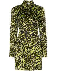 Ganni Hemdkleid mit Tigerstreifen - Grün