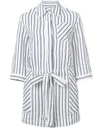 MILLY Striped Romper - White
