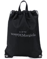 Maison Margiela Inverted Logo Drawstring Backpack - Black