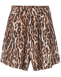 R13 - Pleathed High-rise Leopard Shorts - Lyst