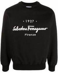 Ferragamo Толстовка С Круглым Вырезом И Логотипом - Черный