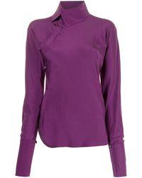 Shanghai Tang X Yuni Ahn Split Qipao Collar Blouse - Purple