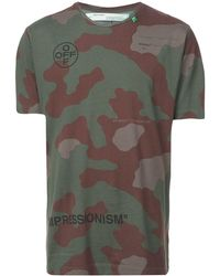 Off-White c/o Virgil Abloh Camiseta con motivo militar con logo - Verde