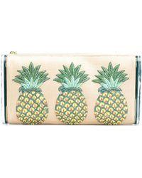Edie Parker Clutch mit Ananasstickerei - Mehrfarbig
