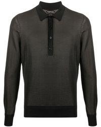 Tom Ford Geweven Poloshirt - Zwart