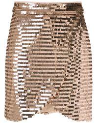 Olympiah Sequin Wrap Mini Skirt - Pink