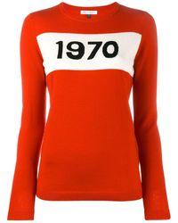 """Bella Freud Intarsien-Pullover mit """"1970""""-Print - Rot"""