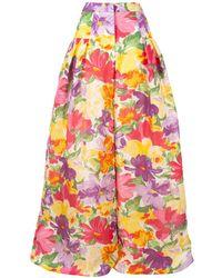 Carolina Herrera Pantalones anchos con motivo floral - Amarillo