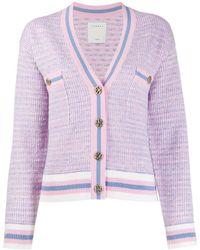 Sandro Cropped Tweed Effect Cardigan - Pink